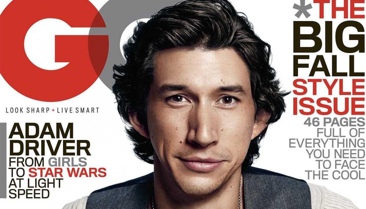 Adam Driver en Une du magazine GQ qui fait remarquer sa fulgurante ascension : Star Wars sera son premier rôle d'importance.