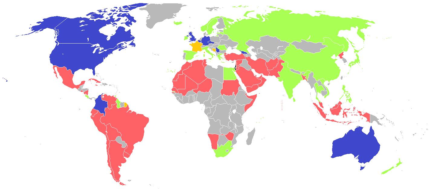 En bleu, les soutiens d'Israël / En rouge, ceux qui condamnent Israël / En vert, ceux qui condamnent les deux pays / En jaune... Le style mitigé de F.Hollande.