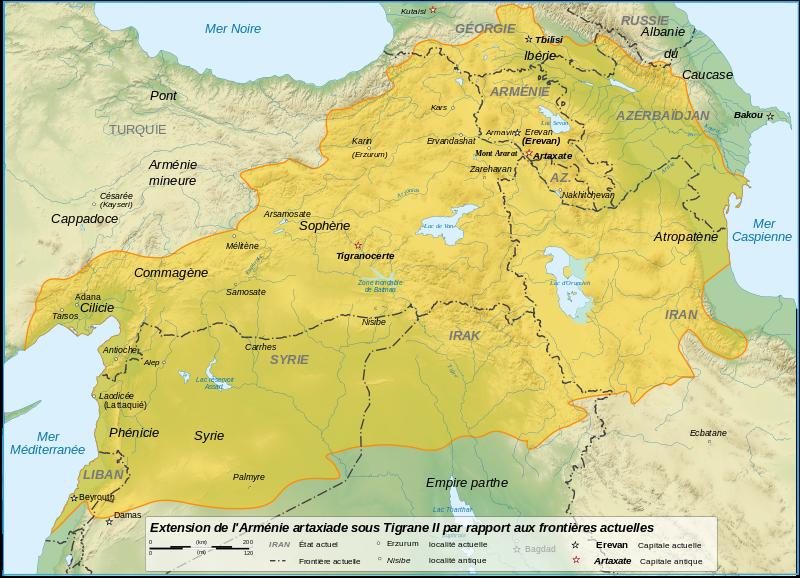 Le Royaume d'Arménie à son apogée au Ier siècle avant J.-C.