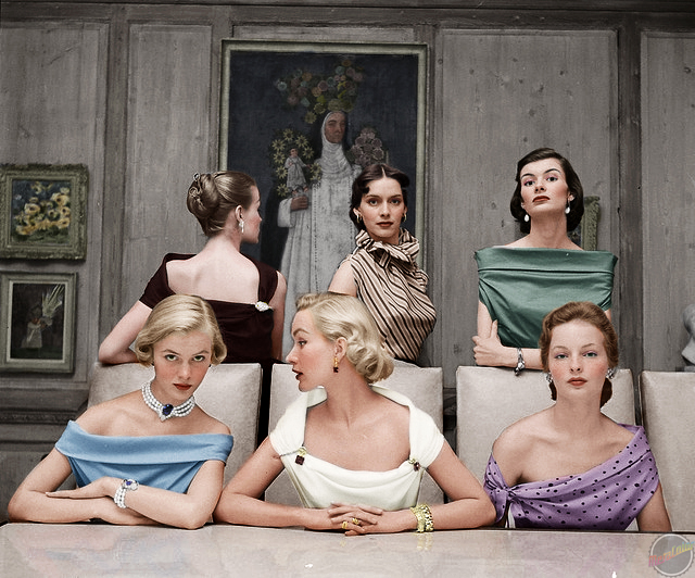 Plunging Necklines 1949 colorized
