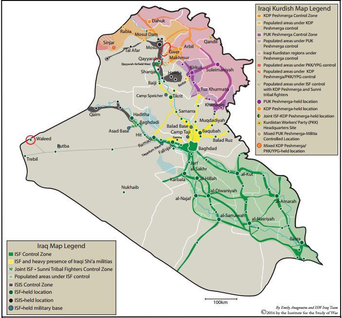 Contrôle du terrain en Irak le 25 août 2016 - Carte de l'ISW